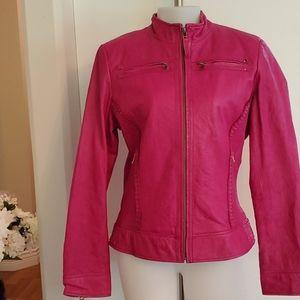 Danier Leather Pink Bomber Jacket Medium like New